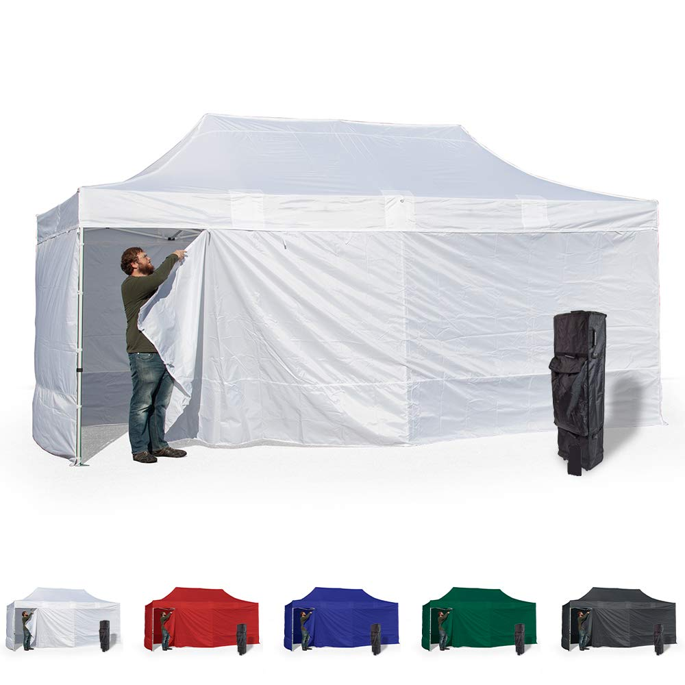 Vispronet 10x20 Instant Canopy Tent and 4 Side Walls – Commercial Grade Aluminum Frame with Water-Resistant Canopy Top and Sidewall – Bag and Stake Kit Included (White)
