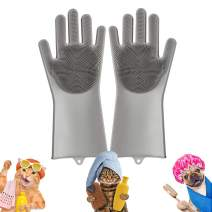 Pet-Grooming-Gloves for Bathing & Hair-Removal, Dog and Cat Brush Bath-Scrubber Glove, Pets Silicone Scrubbing Gloves for Shedding, Pet Shower Attachment Supplies for Anti-Bite & Anti-Scratch