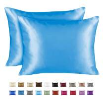 ShopBedding Luxury Satin Pillowcase for Hair – Standard Satin Pillowcase with Zipper, Jewel Blue (Pillowcase Set of 2) – Blissford