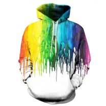 NEWCOSPLAY Unisex Realistic 3D Digital Print Pullover Hoodie Hooded Sweatshirt (S/M, White Paint)