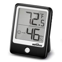 Hommak Hygrometer Humidity Gauge, 2 Inch Mini Size Display, Air Comfort Indicator, Temperature Monitor with Humidity Trendline for Room, Home, Office, Garage, Warehouse, Black
