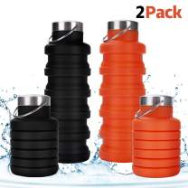 Rosoz Collapsible Water Bottle BPA Free,FDA Approved Food-Grade Foldable Water Bottle,Portable Leak Proof Silicone Sports Travel Water Bottle