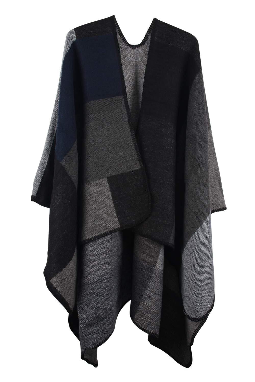 VamJump Women Open Front V Cut Reversible Oversized Blanket Poncho Cape
