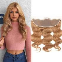 CLIONE Hair Honey Blonde Lace Frontal Closure Pre Plucked Full Body Wave Frontal Ear To Ear 13x4 Frontal With Baby Hair 27# Peruvian Virgin 100% Human Hair Extensions(10 Inch)