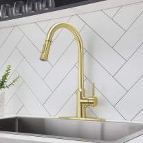 Comllen Best Commercial Brushed Gold Pull Down Kitchen Faucet,Stainless Steel Brass Single Handle Pull Out Kitchen Sink Faucets with Deck Plate