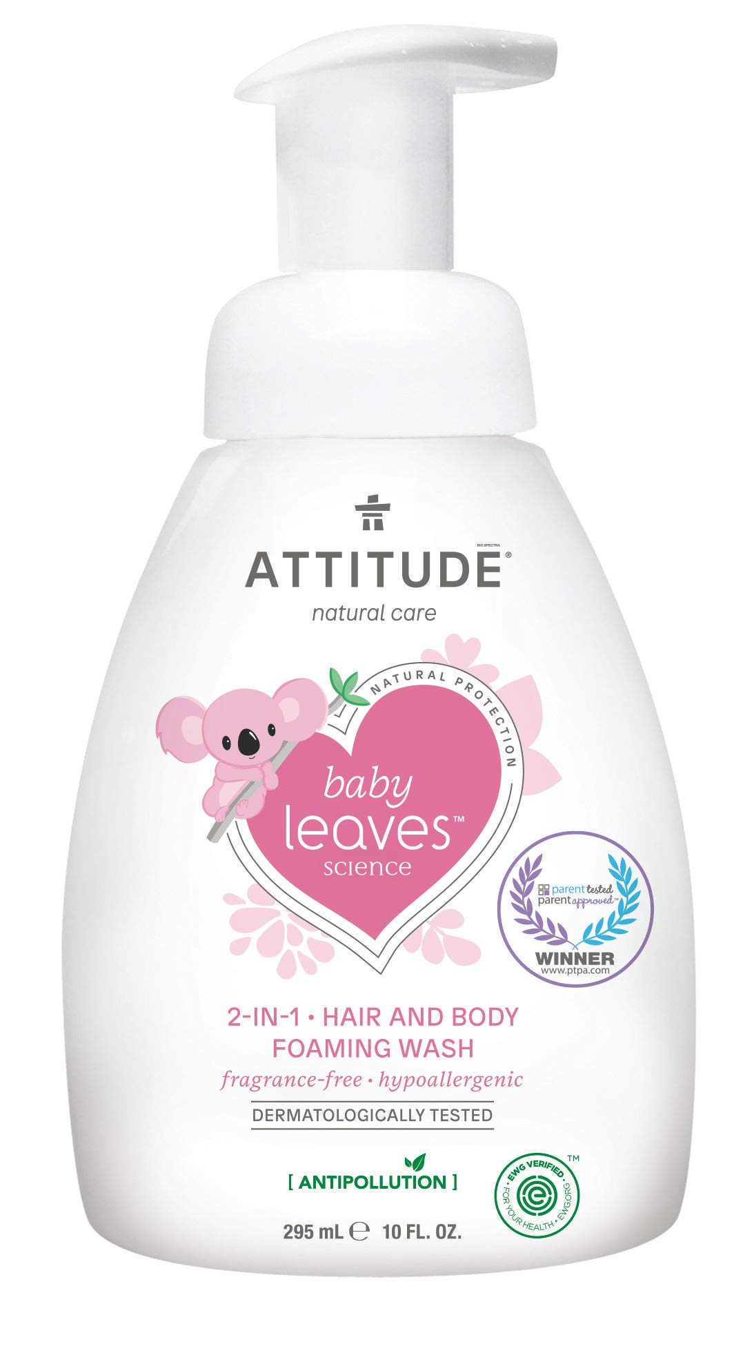 ATTITUDE Natural Baby 2-in-1 Hair and Body Foaming Wash, EWG Verified, Hypoallergenic, Fragrance Free, 10 Fluid Ounce (295 mL)