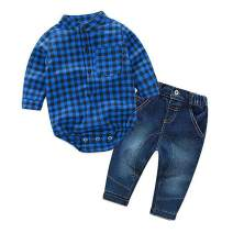 YUN HAO Baby Boys 2 Piece Jeans Shirt Winter Clothes Sets with Bowtiey