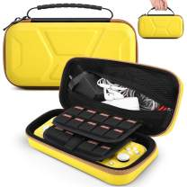 TiMOVO Carrying Case for Nintendo Switch Lite, Shockproof EVA Hard Shell Large Portable Travel Carrying Pouch with Handle, 20 Card Slots, Pocket for Nintendo Switch Lite and Accessories - Yellow