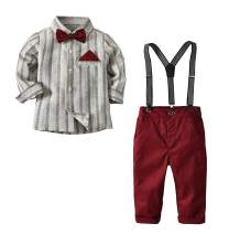 Baby Boy Gentleman Outfits Suits Long Sleeve Bow Tie Shirts Jumpsuit + Suspenders Infant Pant Sets+Outcoat