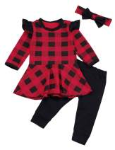 Seyouag Baby Girl Fall Clothes Long Sleeve Red Plaid Ruffle Dress Top and Black Pants New Year Winter Outfits Set