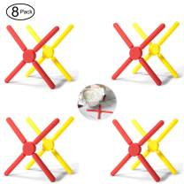 8 Pcs Kitchen Utility Foldable Cross Silicone Trivets, Expandable Holder Collapsible and Non-slip for Cooking Pots and Pans