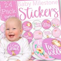 Baby Monthly Stickers, Baby Milestone Stickers for Girls, First Year Baby Stickers, Baby Monthly Milestone Stickers for Girls, Original Cute Designs, Gift Packed, Pack of 24 Giant Stickers