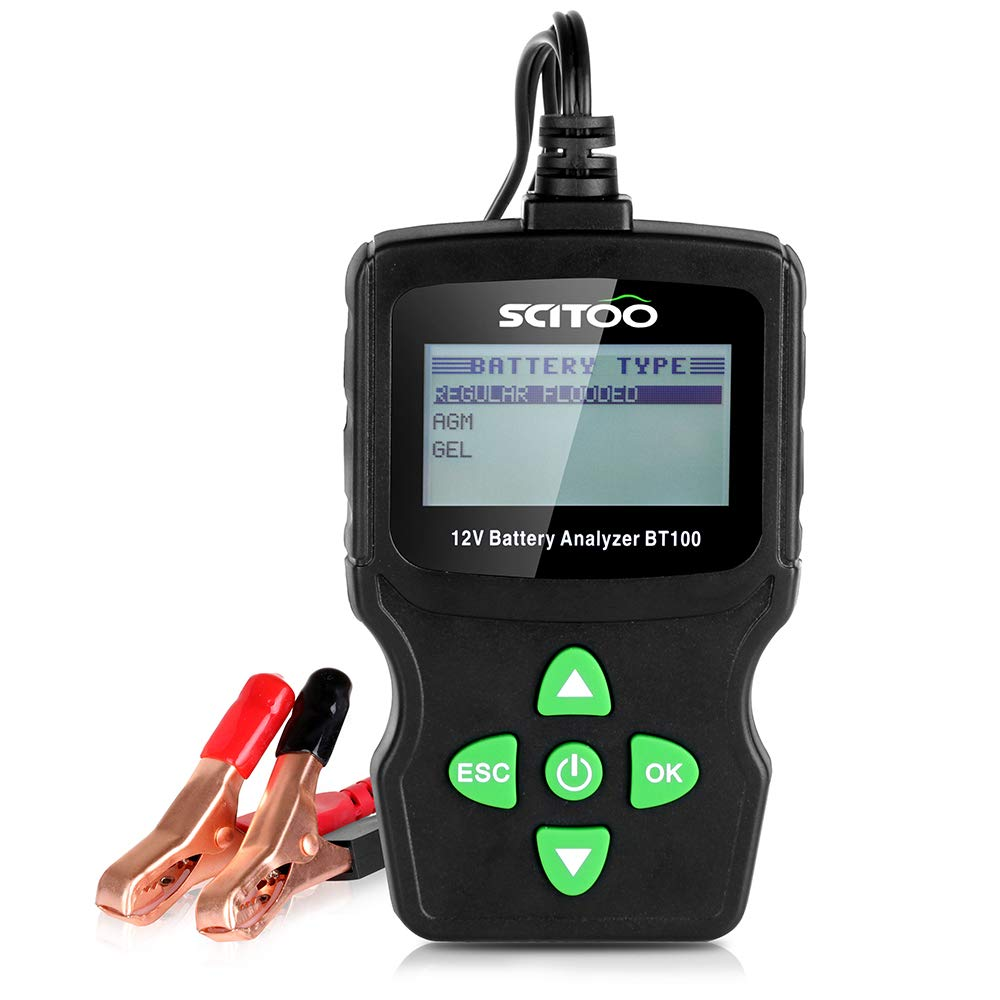 SCITOO BT100 Automotive Battery Analyzer 12V 100-1100 CCA Tester for Regular Flooded, AGM Flat Plate, AGM Spiral and GEL Batteries