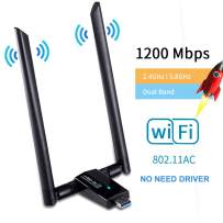 1200Mbps WiFi Adapter Dongle,Huifen USB 3.0 Wireless Network Adapter WiFi Receiver & Transmitter Dual Band 2.4GHz/300Mbps+5GHz/866Mbps 802.11AC for PC/Desktop/Laptop/Tablet (Black)