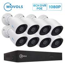 Movols POE Security Camera Systems,CCTV Camera Security System,4CH 1080P POE NVR Kit,4pcs 2MP Indoor Outdoor POE IP Cameras