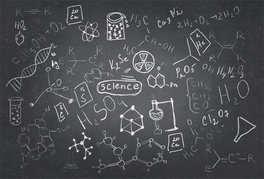 AOFOTO 6x4ft Chemistry Course Classroom Photography Backdrop Handwritten Science Drawing Chalkboard Blackboard Background for School Term Begins Graduation Ceremony Photo Studio Drapes
