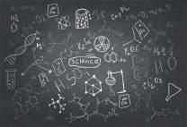 AOFOTO 7x5ft Chemistry Course Classroom Photography Backdrop Handwritten Science Drawing Chalkboard Blackboard Background for School Term Begins Graduation Ceremony Photo Studio Drapes
