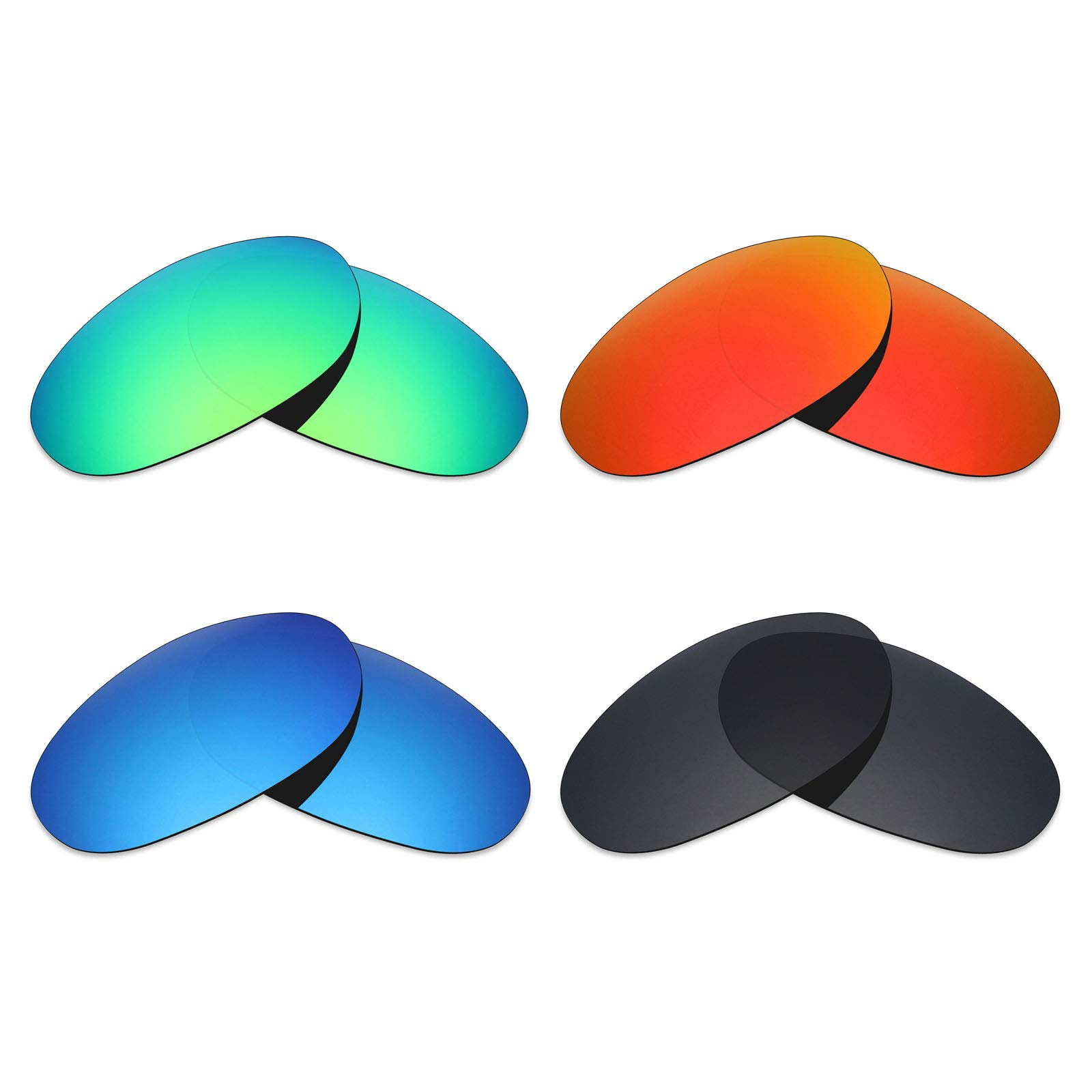 Mryok 4 Pair Polarized Replacement Lenses for Costa Del Mar Fathom Sunglass - Stealth Black/Fire Red/Ice Blue/Emerald Green