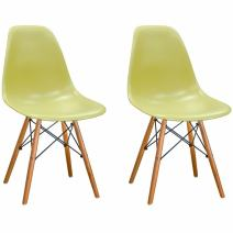 Mod Made Mid Century Modern Armless Paris Dining Side Chair with Natural Wood Legs for Dining Room Living Room or Kitchen- Green (Set of 2)