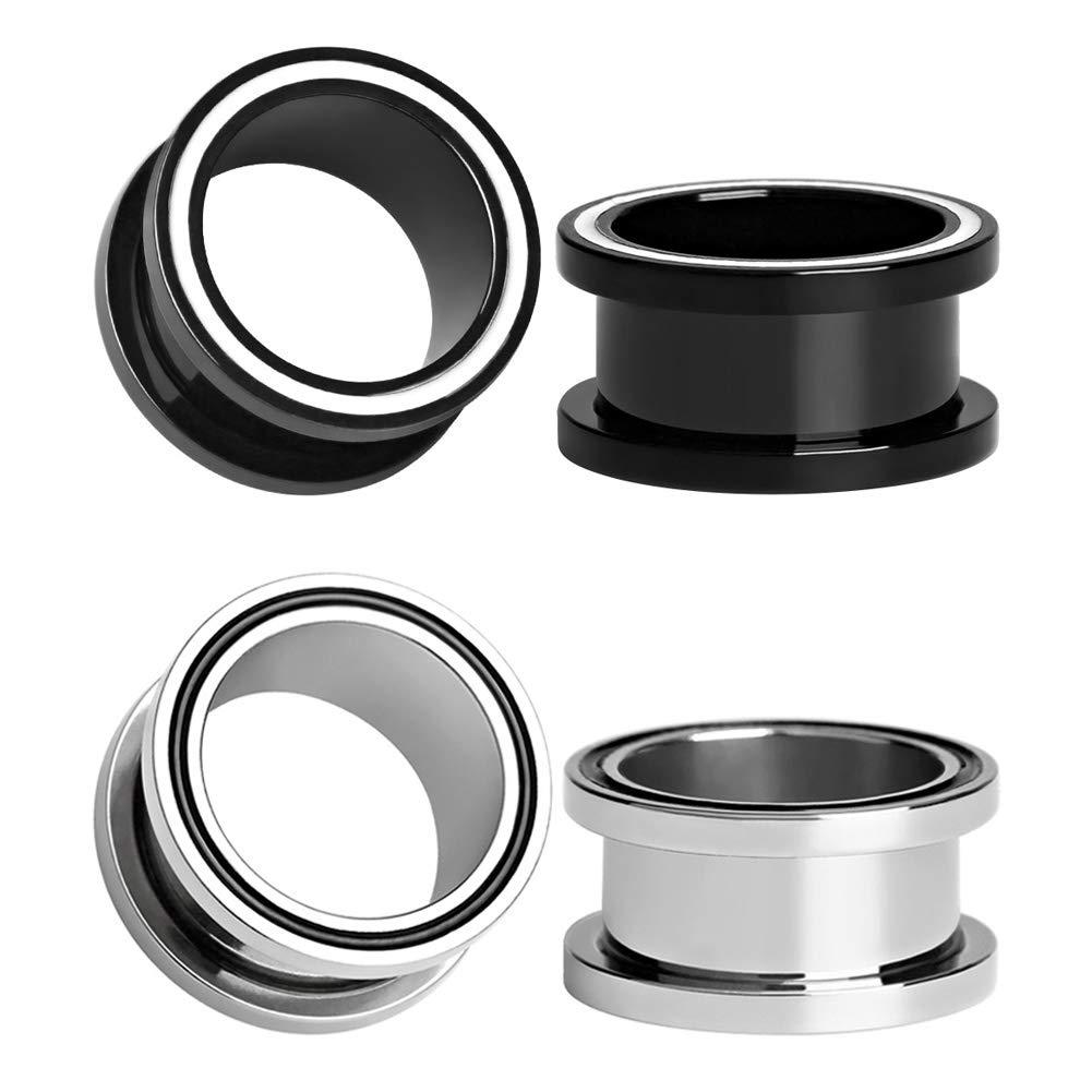 Longbeauty 2Pcs/4Pcs/6Pcs Black and Silver Ear Tunnels Plugs Gauges Stainless Steel Expander Stretcher Piercings