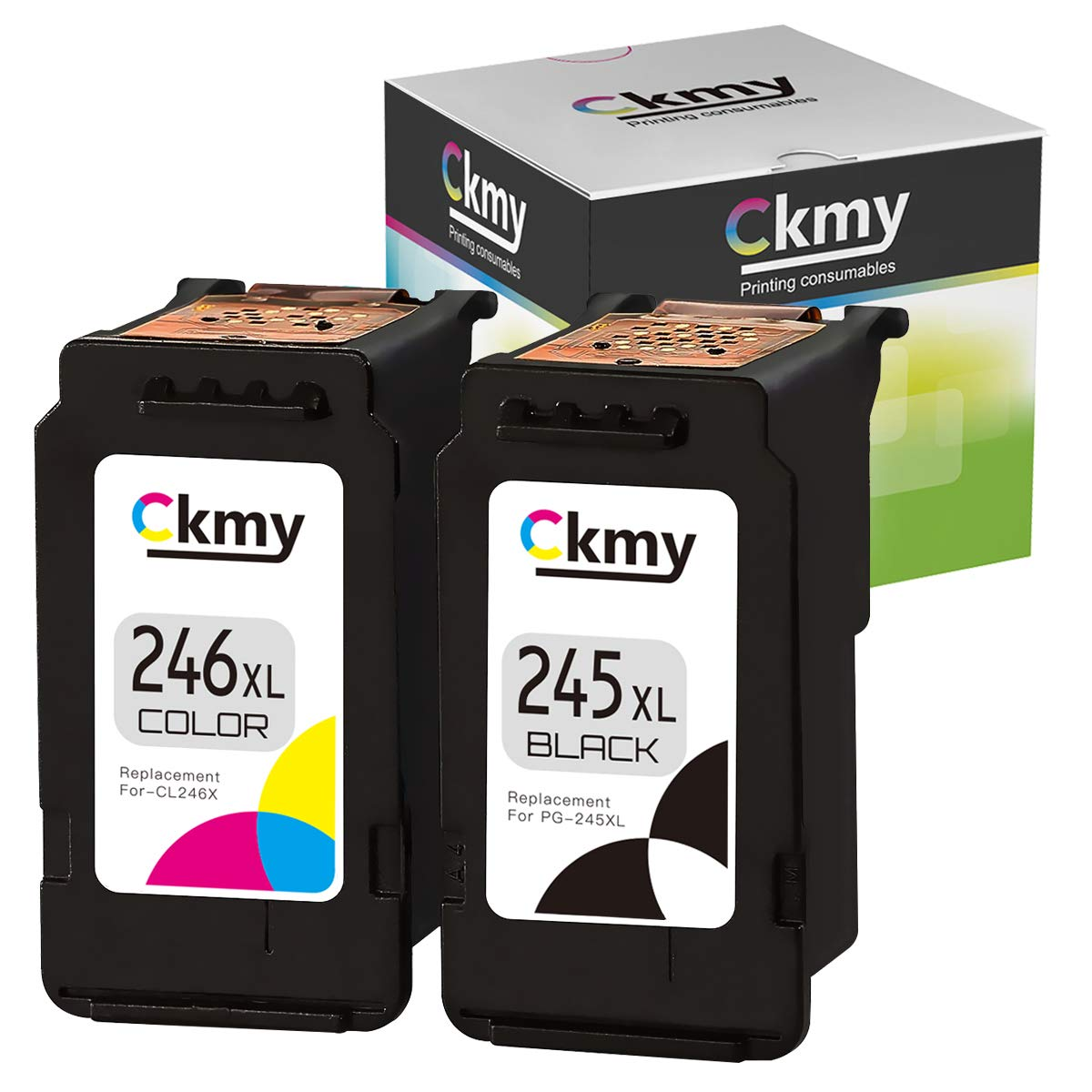 CKMY 245XL 246XL Remanufactured Ink Cartridge Replacement for Canon PG-245 CL-246 XL to Use with Pixma MG2520 TR4520 TS302 TS3120 TS202 MG2920 MG2922 MX492 MG2525 Printer (Black Tri-Color) 2-Pack