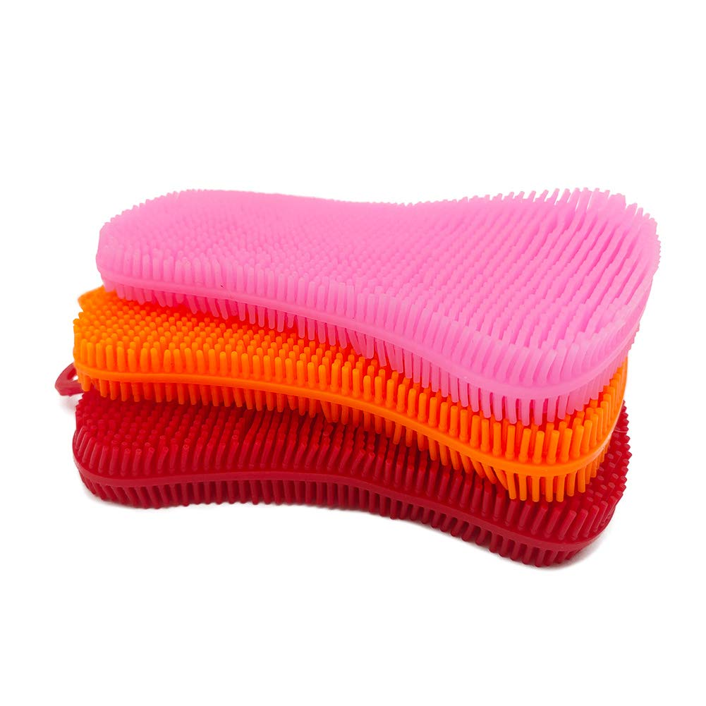Silicone Sponges for Dishes, Sponge Dish Scrubber Washing Kitchen Gadgets Brush Accessories, Kitchen Reusable Sponge Double Sided Cleaning Sponge (Red,Pink,Orange)