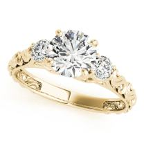 0.5 Ct. Halo Round Cut Classic Three-Stone Diamond Engagement Ring for Women |4 Prong 14K Solid White Rose Yellow Gold | 1/2 ctw Genuine Diamond Wedding Jewelry Collection