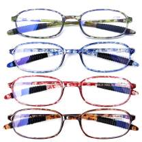 AQWANO 4 Pack Computer Reading Glasses Blue Light Blocking Lightweight TR90 Flexible Frame UV Protection Readers for Women Men +2.5