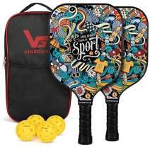 Vinsguir Pickleball Paddle - 2 Premium Graphite Rackets Honeycomb Composite Core with Cushion Comfort Grip & 4 Balls & Portable Racquet Bag (Hand Drawn Doodles + 3 Outdoor Balls +1 Indoor Ball+ Bag)