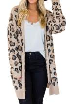 Women's Long Sleeve Open Front Leopard Print Cardigan with Pockets
