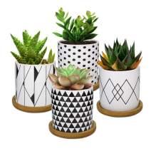 Lewondr 4 Pack Succulent Plant Pots, 3 Inch Ceramic Mini Flower Pots Planter with Bamboo Tray for Small Plants Flowers Cactus, Home Decorations Décor - Geometry 02, Black & White