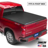 Tonno Pro Hard Fold, Hard Folding Truck Bed Tonneau Cover | HF-163 | Fits 2014-2018, 19 Ltd/Lgcy GMC Sierra & Chevrolet Silverado 1500 8' Bed
