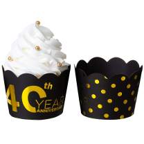 """KEY SPRING""""40th Year Anniversary"""" and Gold Polka Dot Reversible Cupcake Wrappers (Black, Gold, 36PCS/Pack), Size Adjustable Cupcake Sleeve for Wedding Anniversary, 40th Year Birthday Party"""