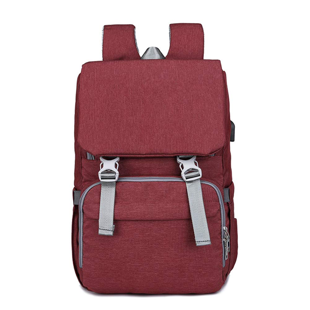 Diaper Bag Backpack for Mom&Dad, Large Capacity Baby Nappy Bag w/ Changing Pad (Red)