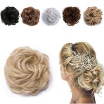 Messy Hair Bun Curly Synthetic Updo Chignons Extensions Elastic Bride Donut Bun Ponytail Scrunchy Hairpiece for Women 2pcs 45g/Piece Highlight Ash Blonde Mix Bleach Blonde-Thicker