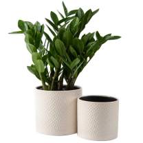 """KYY Ceramic Planters Garden Flower Pots 6.7"""" and 5.7"""" Set of 2 Indoor Outdoor Modern Plant Containers (White Diamond Pattern)"""