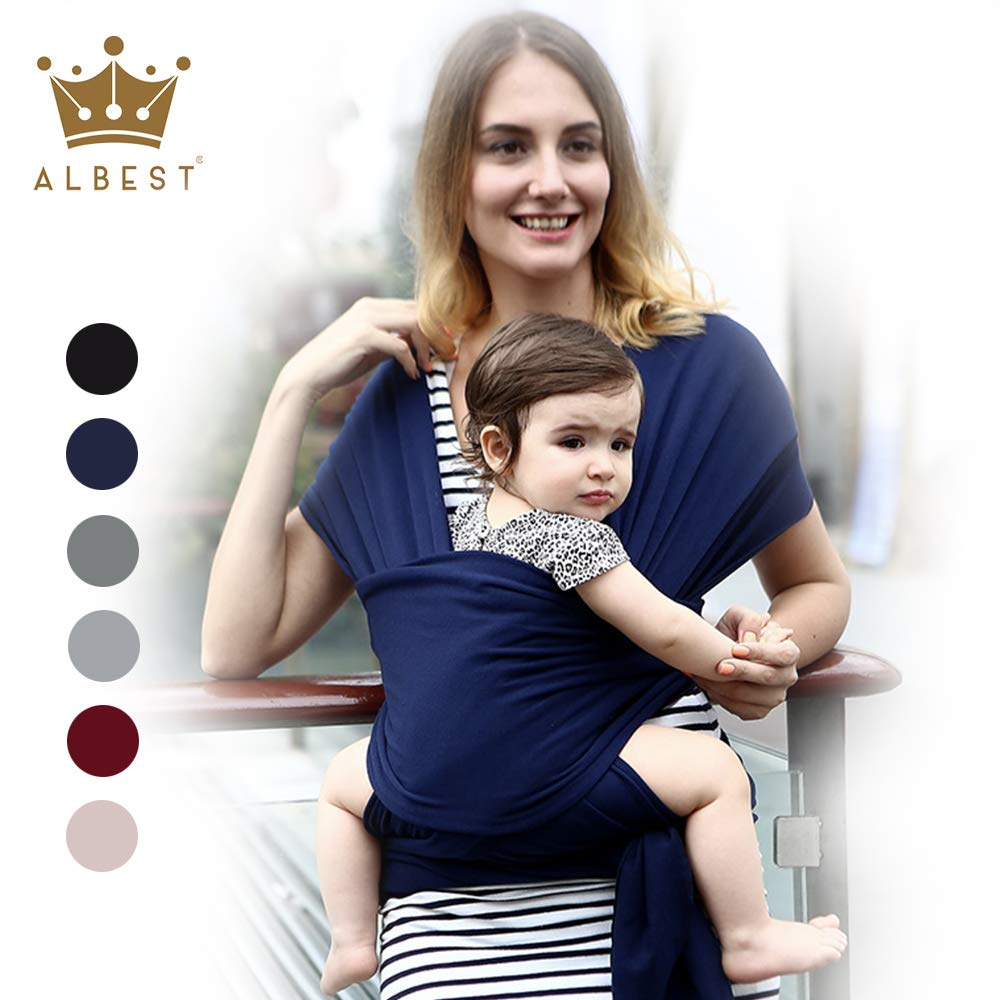 Easy Wearing Baby Wrap Ergo Carrier Slings, Extra Soft, Easy Wearing and Carrying, Best Baby Shower Gift (Navy Blue)