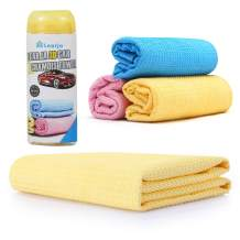 6 Packs Car Wash Chamois Towel【Upgraded version】Premium Synthetic Shammy Towel【Come with storage tube】 Learja Faster Drying No Lint No Streak (Yellow, 17 x 13 inches)