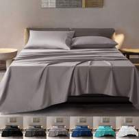 SONORO KATE 100% Pure Egyptian Cotton Sheets Sets,Cooling Bed Sheets 600 Thread Count Long Staple Cotton,Sateen Weave for Soft and Silky Feel, Fits Mattress 16'' Deep Pocket (Grey, California King)