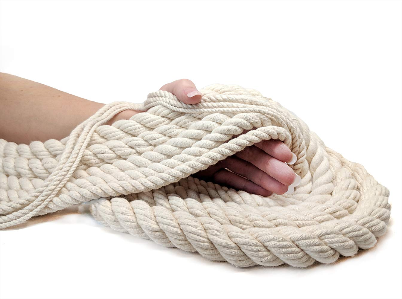 Ravenox 100% Cotton Twisted Rope | (White)(3/8 in x 100 ft) |USA Made Natural Cord | Baker & Butchers Twine, Macramé, Knotting, Crafts, Pet Toys