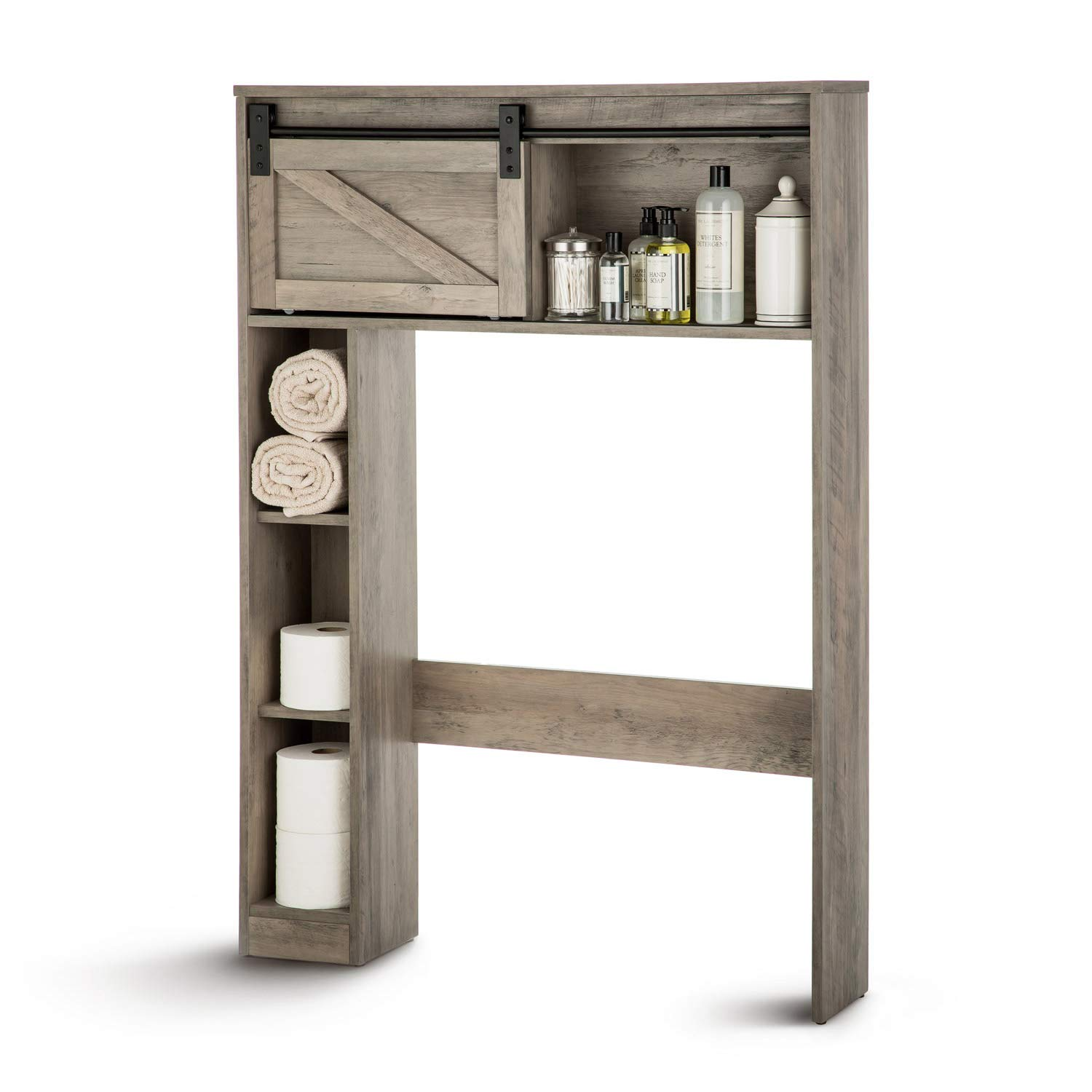 Landia Home Over the Toilet Storage Shelving - Bathroom Shelf and Cabinet with Sliding Barn Door