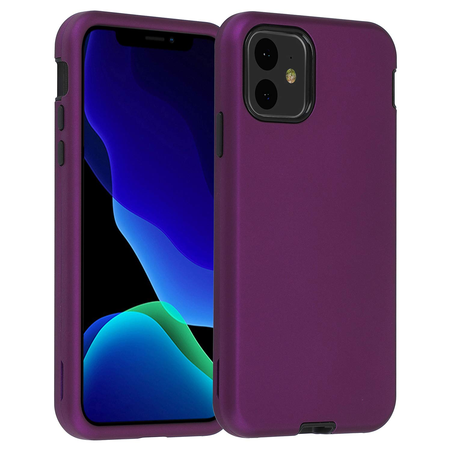"""Co-Goldguard Case for iPhone 11 2019 6.1"""" Heavy Duty Armor 3 in 1 Armor Rugged Cover Shockproof Drop-Proof Scratch-Resistant Tough Shell Design for iPhone 11 6.1 inch,Purple"""
