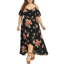 UOFOCO Party Dress Plus Size Long Dress Women Casual Short Sleeve Cold Shoulder Boho Flower Print