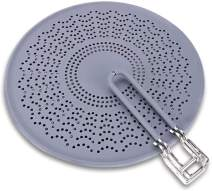 """SKEMIX 11.5"""" Silicone Splatter Screen - Pan Cover with Folding Handle, High Heat Resistant Oil Splash Guard - Heat Insulation Cooling Mat, Strainer, Drain Board for Frying Pan(Grey)"""