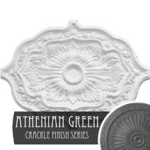 "Ekena Millwork CM36X26PEAGC Pesaro Ceiling Medallion, 36""W x 26""H x 1 1/2""P, Hand-Painted Athenian Green Crackle"