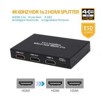 HDMI 2.0 Splitter 4K@60Hz 18GBps HDR10 Dolby Vision, Aozzy HDMI Scaler 4:4:4 3D HDCP 2.2 EDID for TV Monitor Sharing Screen Signal, Low Heat Cascadable ¡­ (1 in 2 Out)