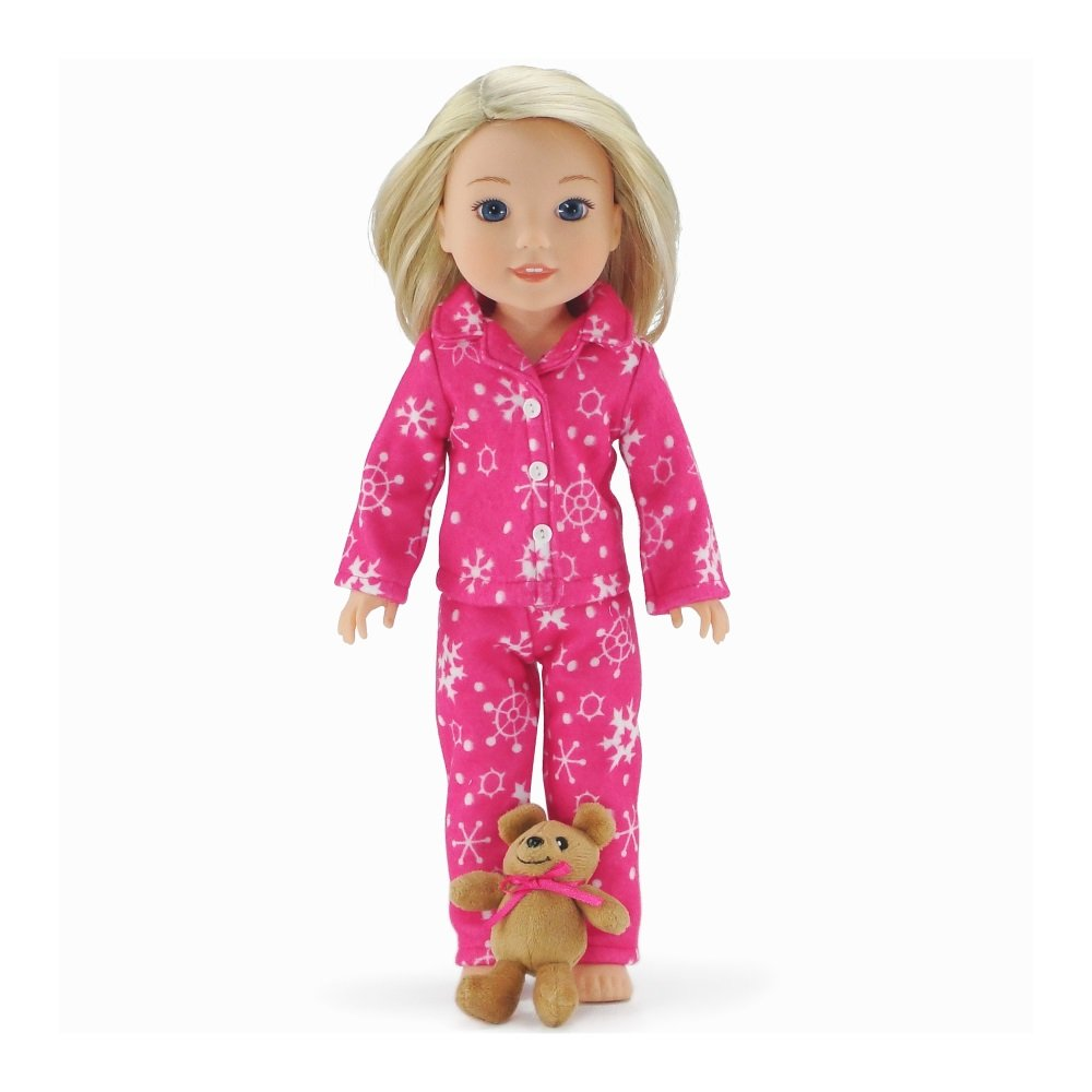"Emily Rose 14 Inch Doll Clothes | 2 Piece Snowflake Doll PJ Set with Doll Sized Teddy Bear!! | Gift Boxed! | Compatible with 14.5"" Wellie Wishers"