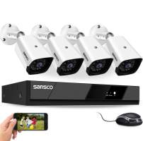 [8CH Expandable] Sansco 2MP Full HD CCTV Camera Security System with Motion Detection, 8 Channel 1080p Network DVR with 4 1920x1080 Indoor Outdoor Cameras, Instant Email & Push Alerts, No Hard Drive