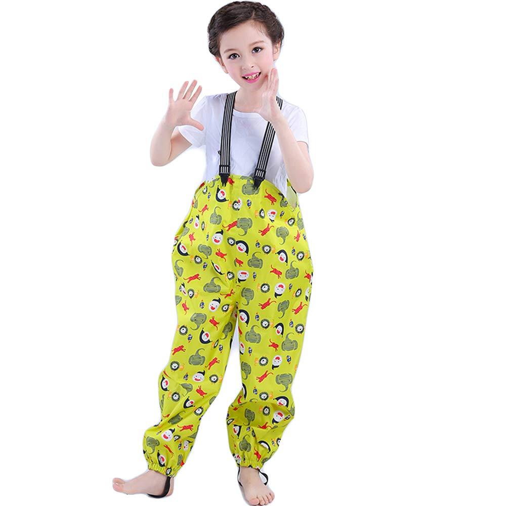 Kids Waterproof Rain Pants Dirty Proof Suspender Trousers for Boys and Girls