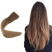 Easyouth 22inch Tape in Hair Extensions Real Remy Human Hair 100 Gram 40 Pcs Balayage Color 10 Fading to 16 Blonde Silky Straight Hair Glue in Hair Extensions Seamless Skin Weft